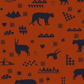 mountain's animals in red and dark gray