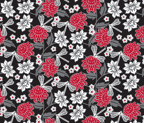 Japanese large floral fabric by cjldesigns on Spoonflower - custom fabric
