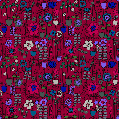 Stem Doodles Red fabric by woodledoo on Spoonflower - custom fabric