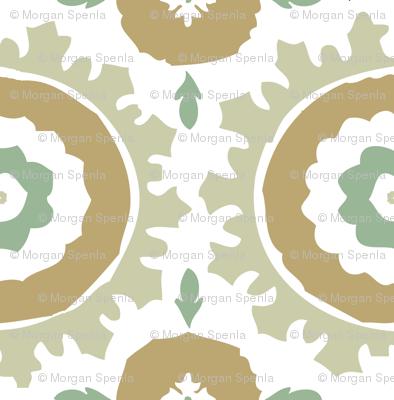 Green, Aqua & Tan Suzani Print