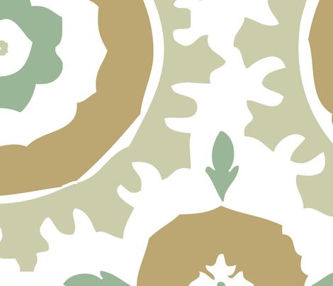 Green, Aqua & Tan Suzani Print fabric by mspenla on Spoonflower - custom fabric