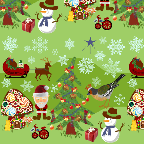Gnomeville holiday express fabric by paragonstudios on Spoonflower - custom fabric