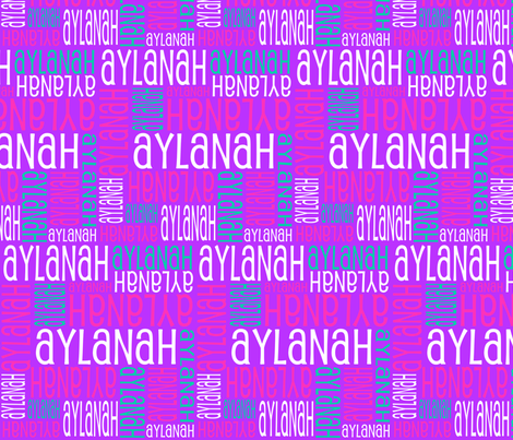 Personalised Name Fabric - Purple Pink Green fabric by shelleymade on Spoonflower - custom fabric