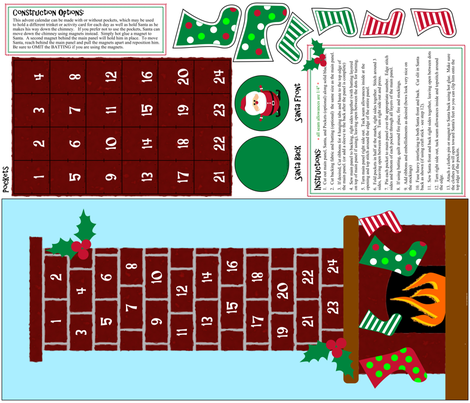 Fire Place Advent Calendar fabric by sahmcolorado on Spoonflower - custom fabric
