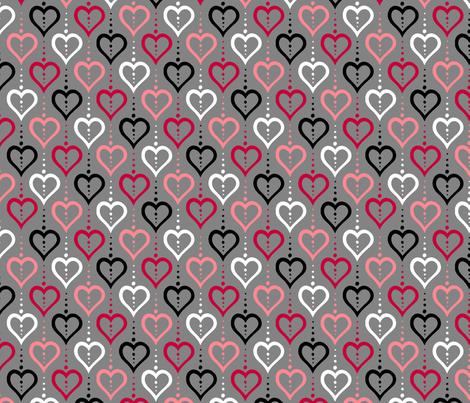 Heart Chain - BWR fabric by siya on Spoonflower - custom fabric