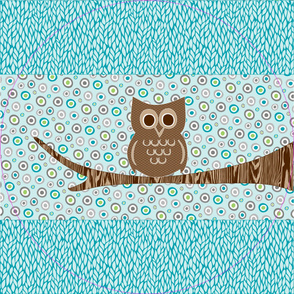 Perchec Owl - Blue, Green, Brown