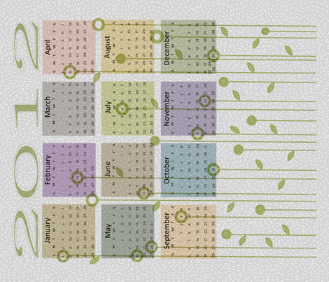 Modern quilt calendar 2012 fabric by vo_aka_virginiao on Spoonflower - custom fabric