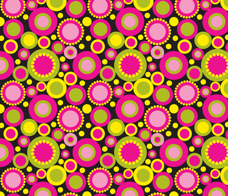 Dot Dah Dah Three on black fabric by deesignor on Spoonflower - custom fabric