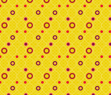 Dot Dah Dah 3 on ochre fabric by deesignor on Spoonflower - custom fabric