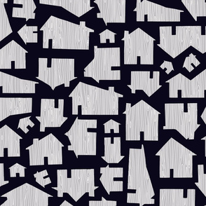 Faux Bois Houses - Black and Grey