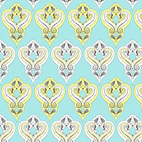 Feather Medallions - Robin's Egg and Vanilla damask