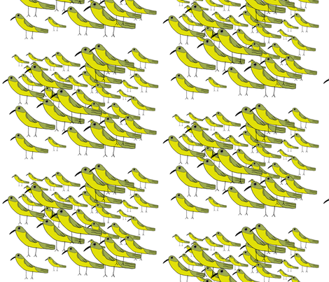 Yellow Warbler Flock fabric by heartfullofbirds on Spoonflower - custom fabric