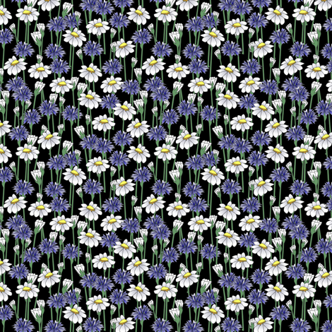 bachelor_buttons_and_daisies fabric by glimmericks on Spoonflower - custom fabric