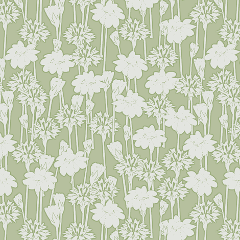 bachelor_buttons_and_daisies big sage fabric by glimmericks on Spoonflower - custom fabric