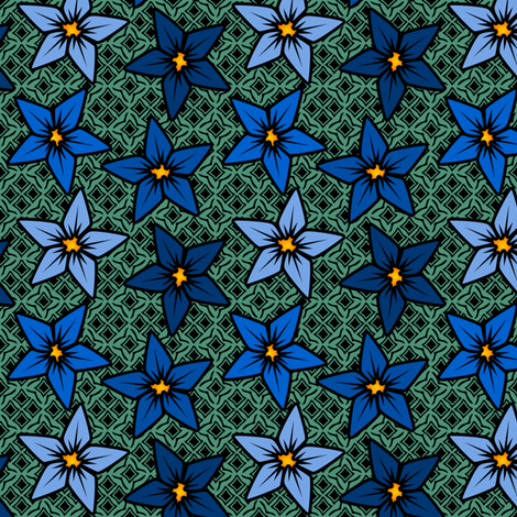bluegreenfflower fabric by glimmericks on Spoonflower - custom fabric