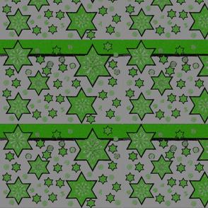 Green stars on grey.