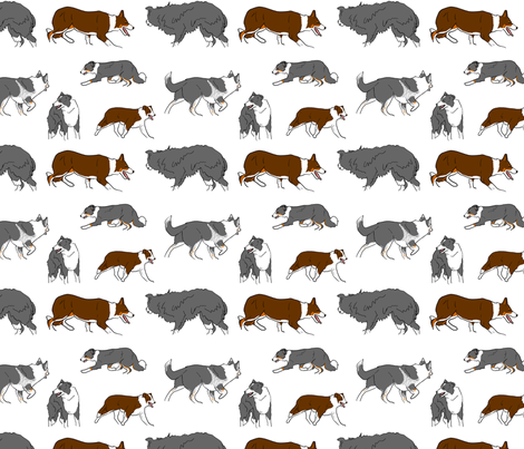 Herd of working Border Collies fabric by rusticcorgi on Spoonflower - custom fabric