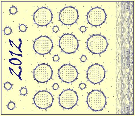 Planet Doodle Calendar 2012 (blue) fabric by wednesdaysgirl on Spoonflower - custom fabric