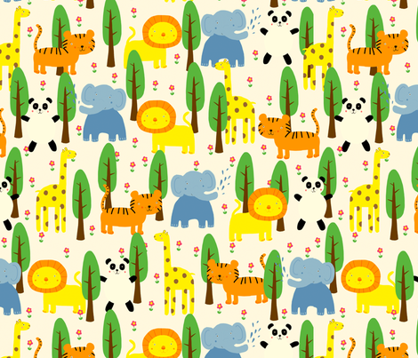 Trees and Animals fabric by lydia_meiying on Spoonflower - custom fabric