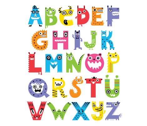 alphabet monsters fabric by andibird on Spoonflower - custom fabric