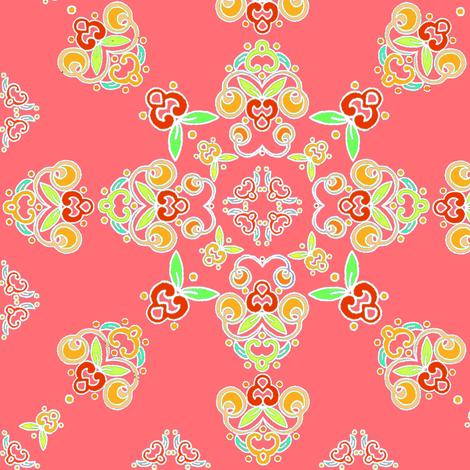 Tangerine Flourish fabric by atomic_bloom on Spoonflower - custom fabric