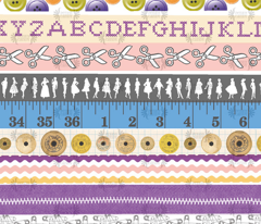 Washi Tape (Sewing) || Japanese ribbon stripes alphabet typography buttons dress numbers