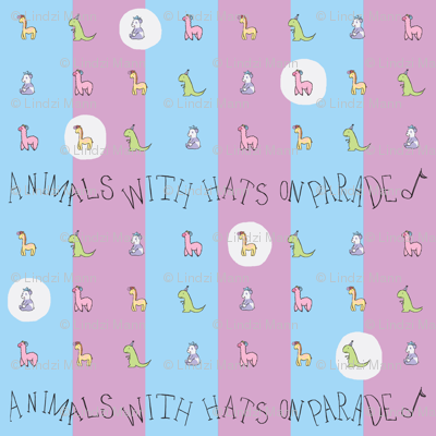 Animals with Hats Repeat BlueXPurple