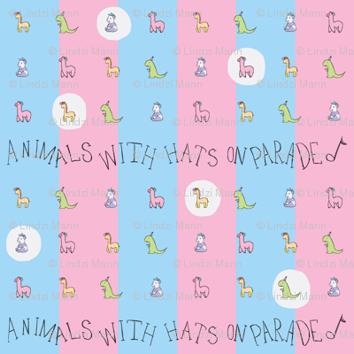Animals with Hats Repeat BlueXPink