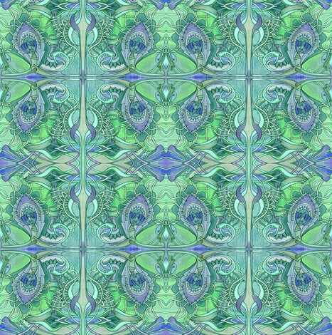 Tiny Aqua Amoeba Tiles fabric by edsel2084 on Spoonflower - custom fabric