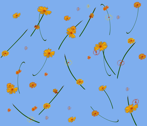 daisies_on_blue_large fabric by itsnaart_fabrics on Spoonflower - custom fabric