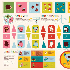 Boardgame dice, pawns, rules for teatowelcalender 2012