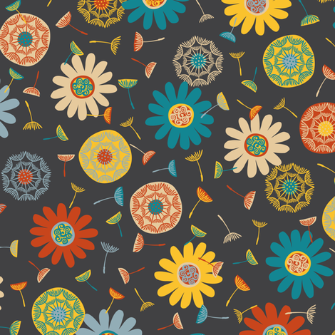 Flower Shower Charcoal (Medium) fabric by gracedesign on Spoonflower - custom fabric