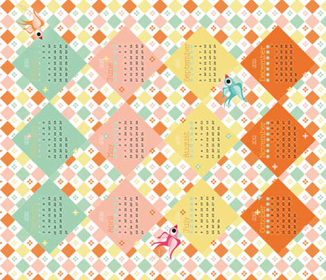 2012 Tea Towel Calendar fabric by miss_honeybird on Spoonflower - custom fabric