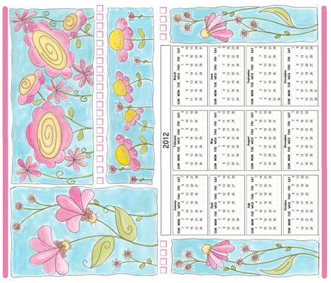 2012 calendar with watercolor flowers fabric by minniemeatdaydreamstudio on Spoonflower - custom fabric