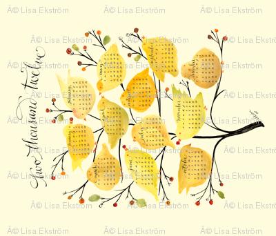 birds & berries tea towel calendar 2012