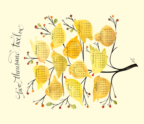 birds & berries tea towel calendar 2012 fabric by lisaekström on Spoonflower - custom fabric