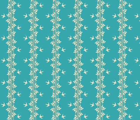 leaves_and_swallows_-_cream and turquoise fabric by glimmericks on Spoonflower - custom fabric