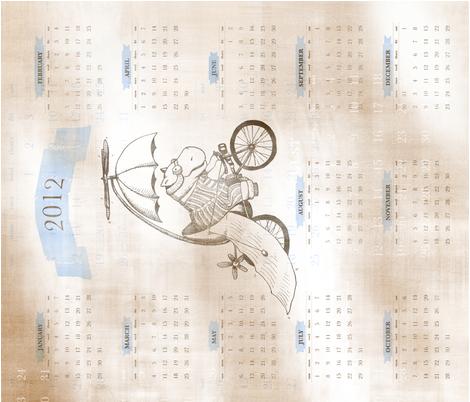 2012 calendar: Flying Hippo fabric by creativebrenda on Spoonflower - custom fabric