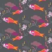 Koi No Bori (Japanese Koi Fish Kites) in the night sky