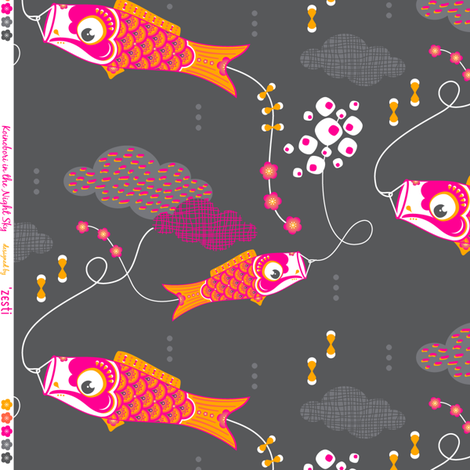Koi No Bori (Japanese Koi Fish Kites) in the night sky fabric by zesti on Spoonflower - custom fabric