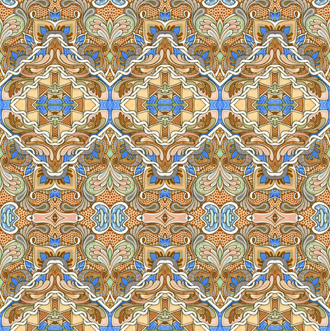 Oh So Romantic in tan fabric by edsel2084 on Spoonflower - custom fabric