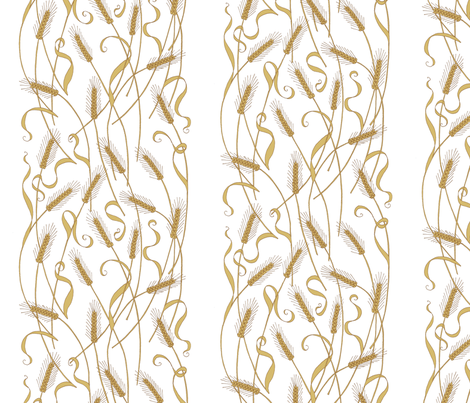 Art Nouveau Wheat wallpaper fabric by victorialasher on Spoonflower - custom fabric