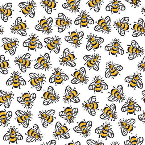 A Very Beezy Ditsy - plain fabric by dianne_annelli on Spoonflower - custom fabric