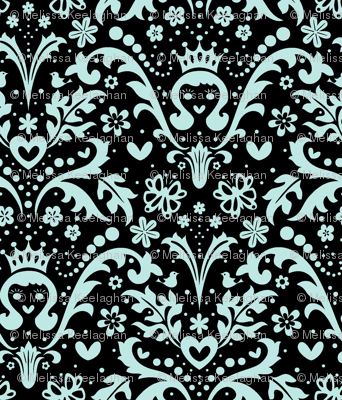Happy Princess Damask in Blue