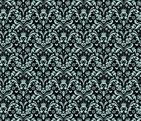 Happy Princess Damask in Blue fabric by mktextile on Spoonflower - custom fabric