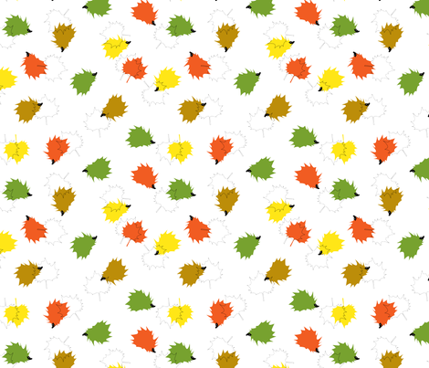 Hedgehogs & Leaves - White Background fabric by pininkie on Spoonflower - custom fabric