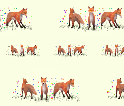 Playing Foxes, Border fabric by animotaxis on Spoonflower - custom fabric