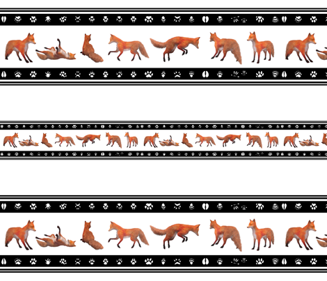 Red Fox Border, Black fabric by animotaxis on Spoonflower - custom fabric
