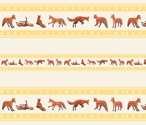Red Fox Border, Gold fabric by animotaxis on Spoonflower - custom fabric
