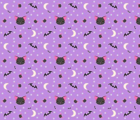 Kawaii Kitty n Bats fabric by eerie_doll on Spoonflower - custom fabric